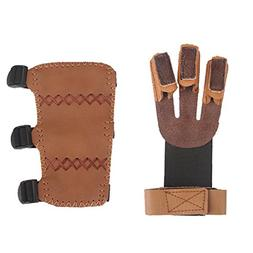 Krayney Adult Youth Leather 3-Strap Arm Guard & Gloves Prote