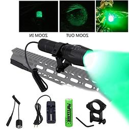 zoomable green light hunting flashlight